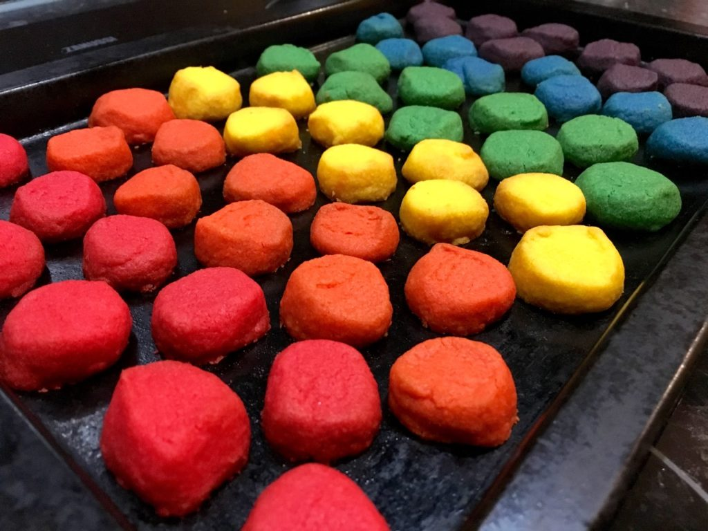 Rainbow shortbreads fresh out of the oven